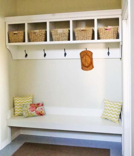 DIY Large Custom Mudroom Organizer with Cubbies and Hooks