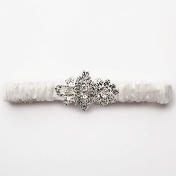 Enchanted Cream Silk Garter from Bridal Trousseau