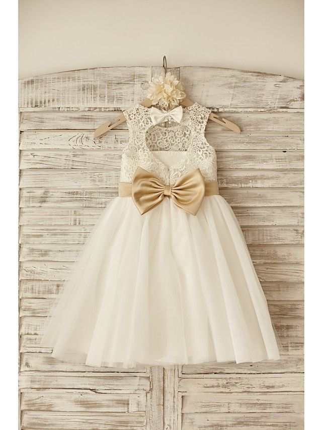 Princess Knee-length Flower Girl Dress - Lace / Tulle Sleeveless Scoop with Bow(s) / Sash / Ribbon - GBP £48.99