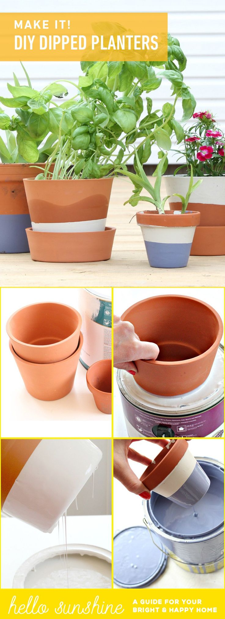 DIY Dip Dyed terracotta planters. You don't need to be an artist to update your old planters- this trick is so easy even a toddler can pull it off!