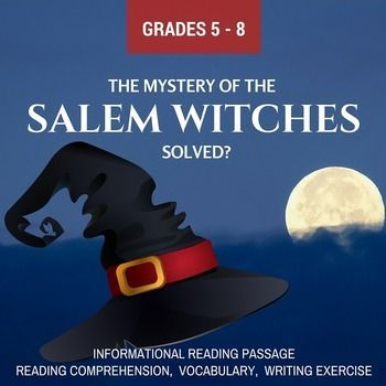 Fall / Halloween Informational Reading – The Mystery of the Salem Witches Solved? Reading comprehension, vocabulary, writing exercise. $