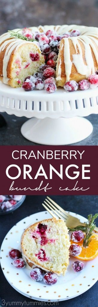 This Cranberry Orange Bundt Cake with orange glaze and sour cream is so festive for the holidays.  It is perfect for brunch or makes a decadent dessert with sugared cranberries spilling out of the top.
