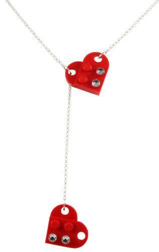 """LEGO Heart Necklace Red 18"""" Chain With Swarovski Crystals Jewelry: Jewelry: Amazon.com"""