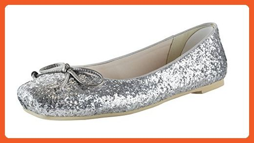 Amiana Women's Chunky Flats with Bow, Silver Glitter, 38 EU / 7 US - Loafers and slip ons for women (*Amazon Partner-Link)