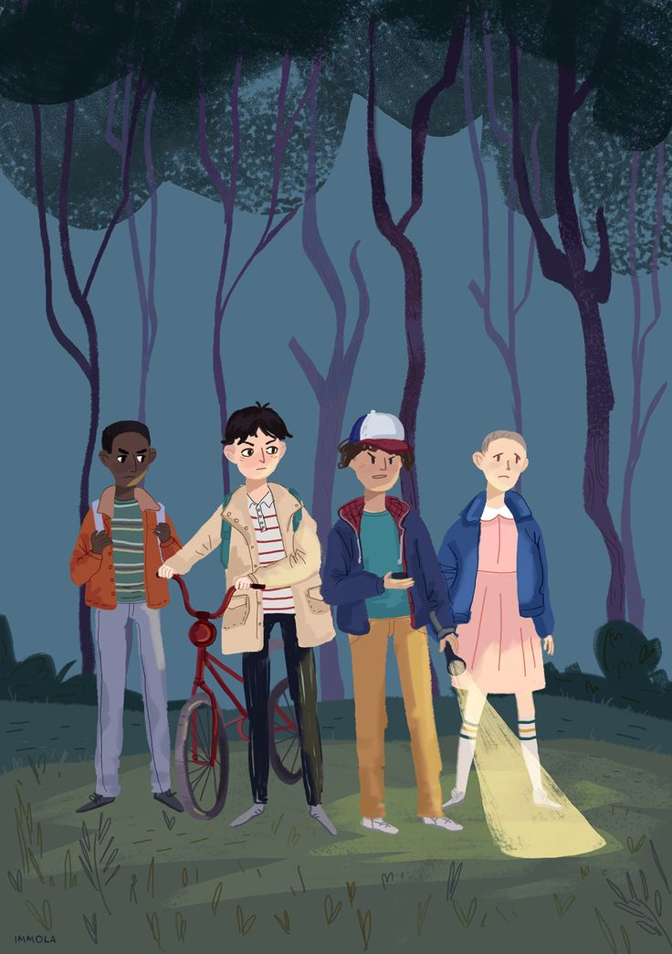 Lucas, Mike, Dustin and Eleven (Stranger Things)