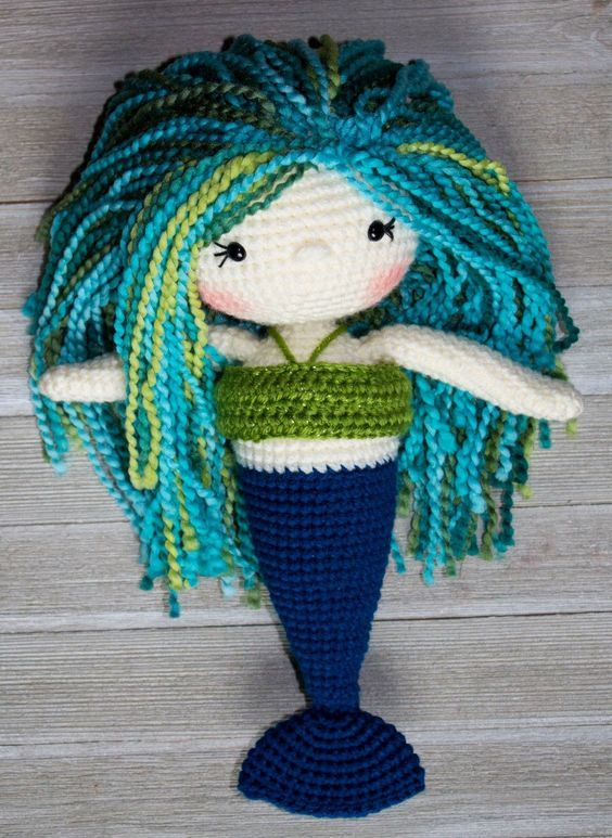 Crochet mermaid doll pattern. Almost 12 inches tall, perfect for beginners with lots of pictures and tips!: