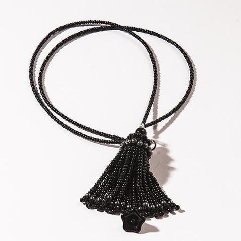 Handmade Black Short Tassel Necklace - Anthos Crafts - 1
