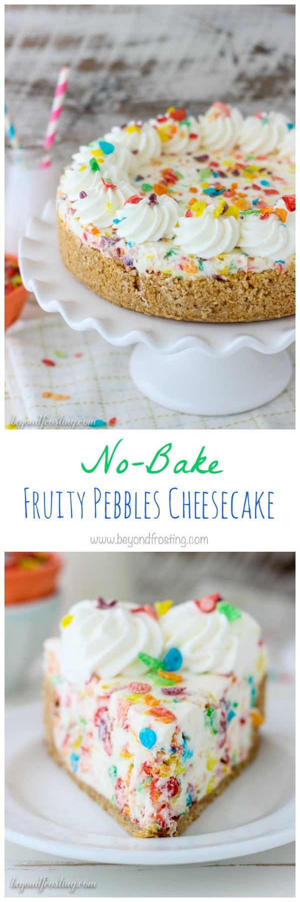You'll love the fruity flavors in this No-Bake Fruity Pebbles Cheesecake! The no-bake cheesecake filling is loaded with Fruity Pebbles on a Nilla Wafer crust. This recipe is quick, easy and delicious!