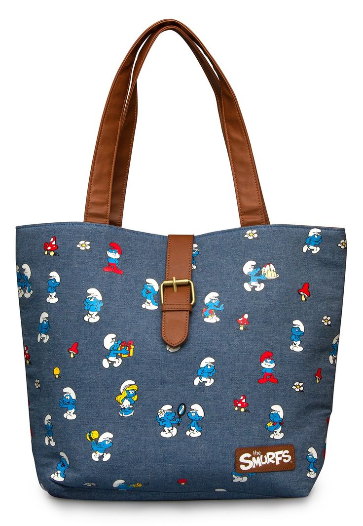 Smurfs All Over Print Blue Chambray Tote - The Smurfs - Brands
