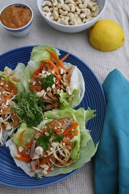 Marinated BBQ Thai Chicken lettuce wraps. So delicious, so easy, a new summer favourite!