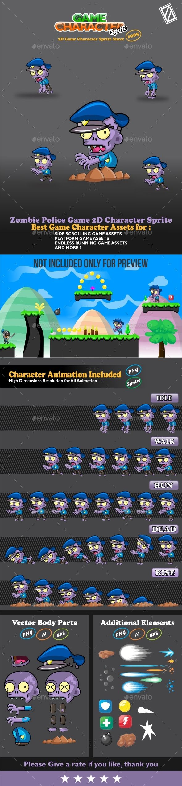 Zombie Police Game 2D Character Sprite | DOWNLOAD:  https://graphicriver.net/item/zombie-police-game-2d-character-sprite/20185511?ref=sinzo #Sprites #Game #Assets