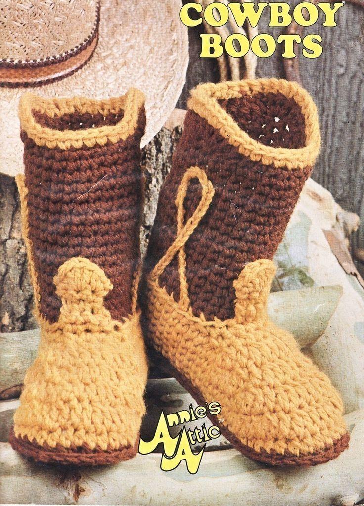 Big Foot Boutique Cowboy Boots Crochet Pattern 7 Sizes