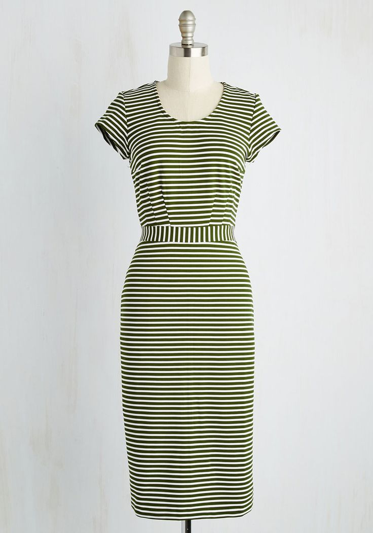 Corner Office Queen Dress. Following your big promotion, you don this striped sheath dress to truly embody the pinnacle of professionalism! #green #modcloth