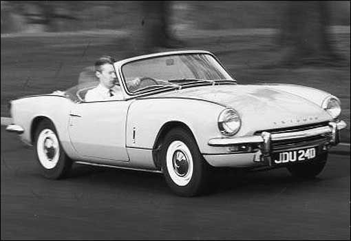 Triumph Spitfire  A Herald in a mini-skirt. Owed its existence to Leyland's takeover of Triumph, which couldn't afford to put the original Michelotti prototype into production
