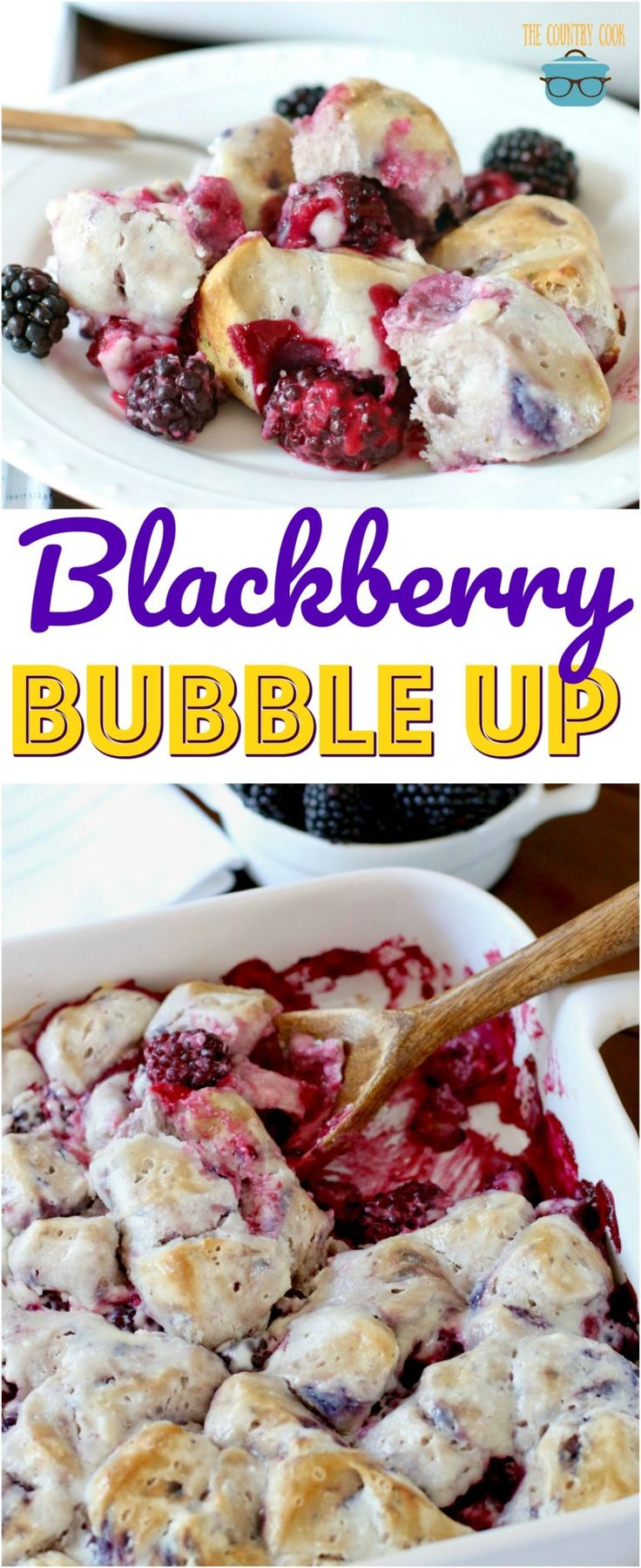 This Blackberry Bubble Up is a dessert made with refrigerated blueberry biscuits, fresh blackberries (or blueberries) cream cheese, powdered sugar all baked up in a casserole dish. #desserts #blackberries #recipes #ideas #biscuits #blueberries