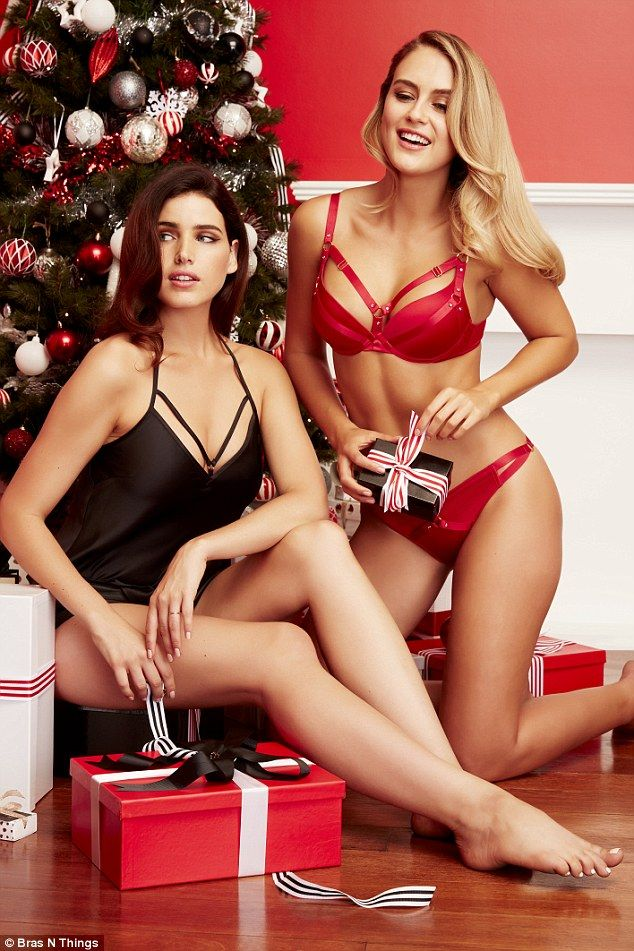 Fun and festive: The models posed in red-hot lingerie and sultry sleepwear for the Christmas-themed campaign for Bras N Things