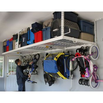 "Overhead Storage:  ($199.99 SafeRacks 4'x8' Overhead Garage Storage Rack Ceiling Drop Range 24""-45"")"