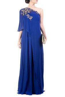 Classic Blue One Shoulder Dress by Anushree Agarwal, Ethnic Gowns