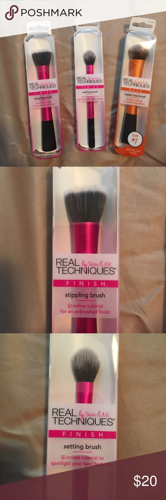 NWT bundle real technique brushes NWT never used! Still in original packaging! Real technique Stippling brush, setting brush, expert face brush. real techniques  Makeup Brushes & Tools