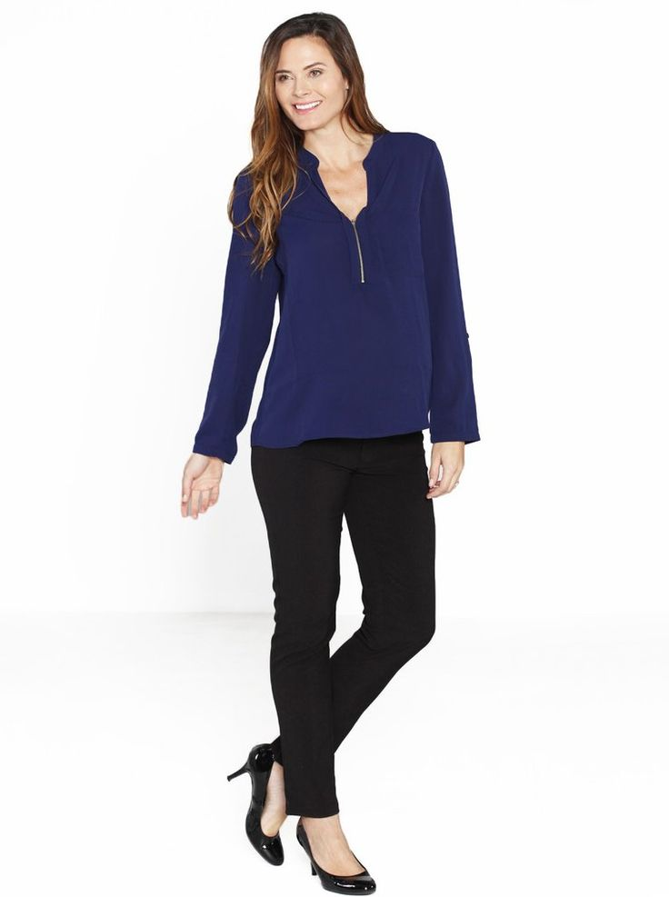 Get more than 50% off when you purchase this fashionable Navy Chiffon Foldable Sleeve Top & Stretchy Straight Leg Pant Outfit, $49.95. Valued at $109.90, it comes with a Zip Front Foldable Sleeve Blouse in Navy and Maternity Straight Cut Ponti Pants in Black. Can be worn straight from the desk to dinner.
