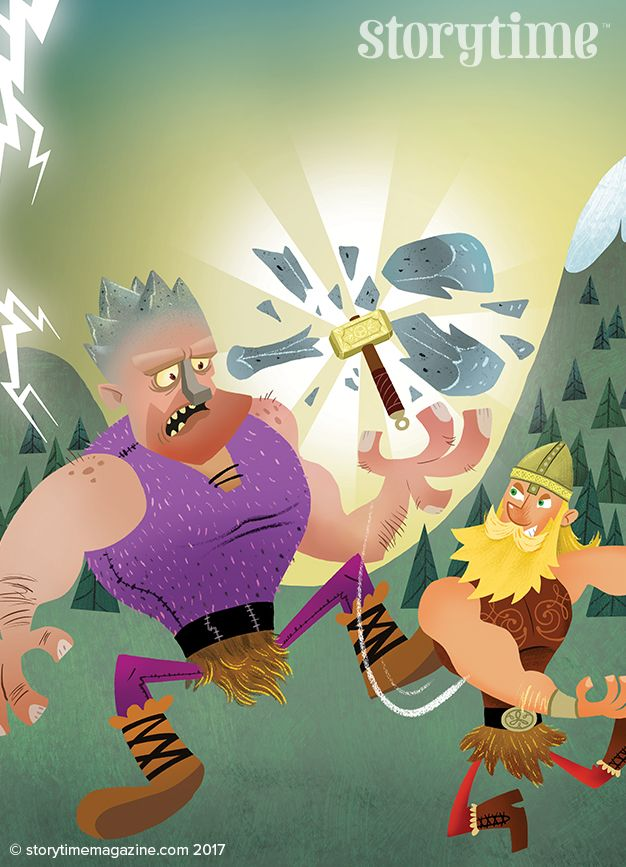 Thor's Duel with Hrungnir the giant - our Norse myth for Storytime Issue 31, with art by Tim Paul (http://www.timpaulillustrations.com) ~ STORYTIMEMAGAZINE.COM