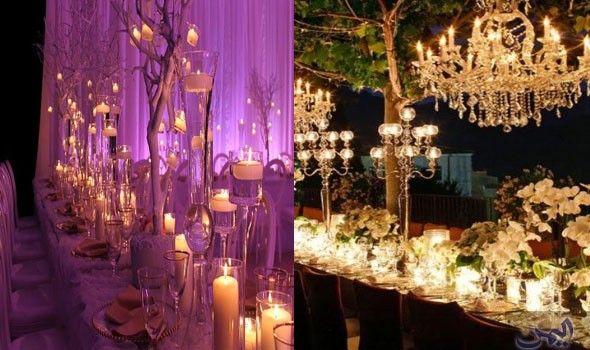 أفكار مبتكرة لاستخدام الشموع في ديكور الأفراح Ceiling Lights Decor Chandelier