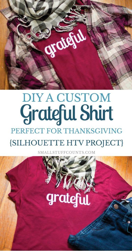 """Learn how to customize a shirt with a Silhouette machine. Download the free """"grateful"""" lettering to create your own, perfect for fall weather or Thanksgiving di"""