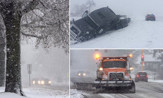 Winter storm causes 340 crashes as it sweeps Minnesota leaving at least one person dead - as it moves further into the Northeast | Daily Mail Online