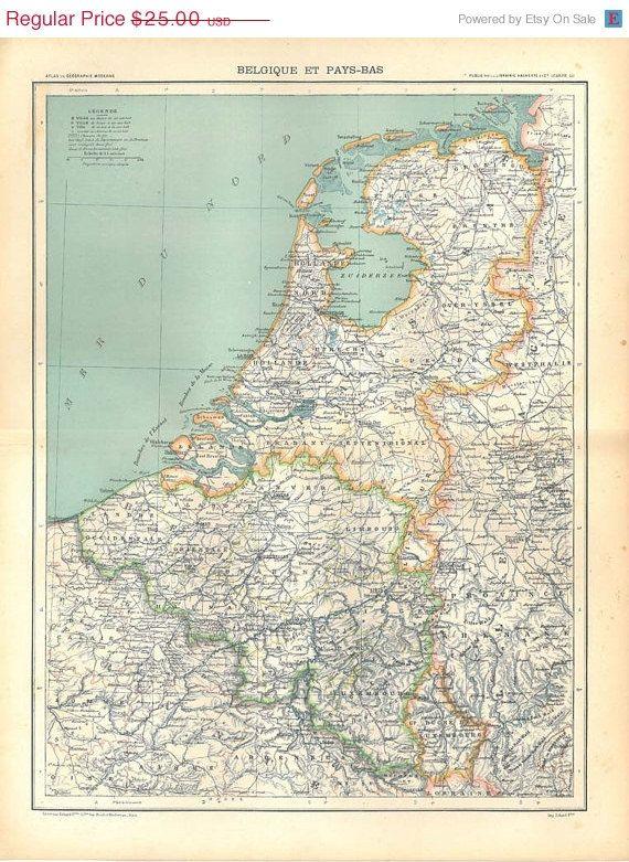 AUF Verkauf Belgien und Niederlande Vintage Karte 1889 Wohnkultur