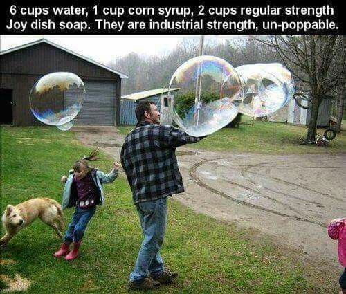 Homemade Bubbles...wish I could have tried these when my son was littke; heck knowing him he'd still love them at 19!