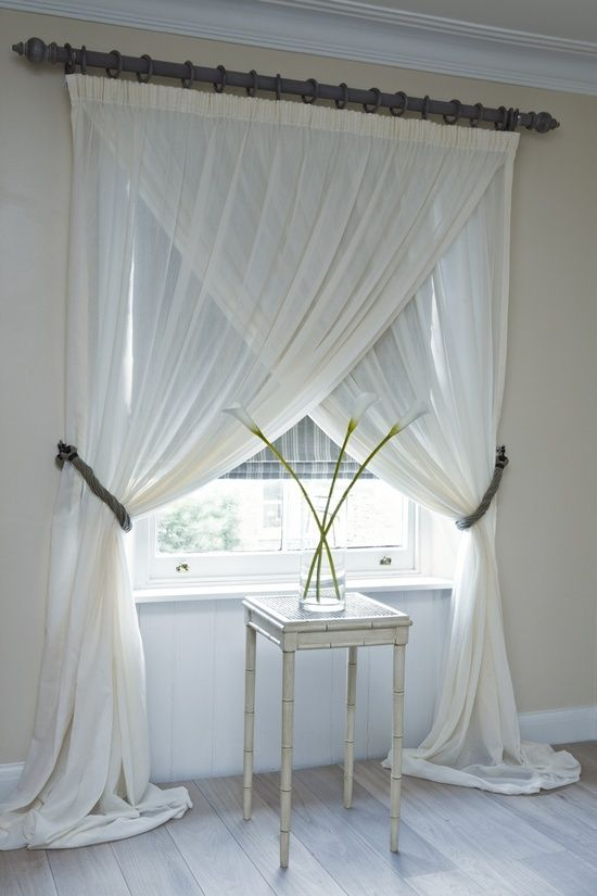 overlapping sheer panels...LOVE THIS LOOK...not sure if it would block too much light though?
