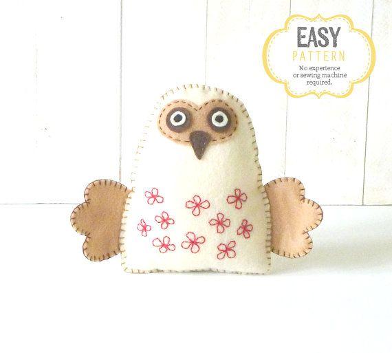 Felt Owl Pattern, Stuffed Owl Sewing Pattern, Woodland Owl Hand Sewing Pattern, Owl Softie, Plush Owl Toy, Owl Stuffie, Owl Stuffy