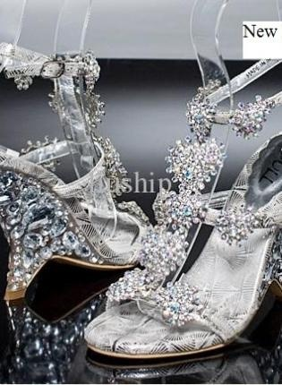 silver rhinestone heel