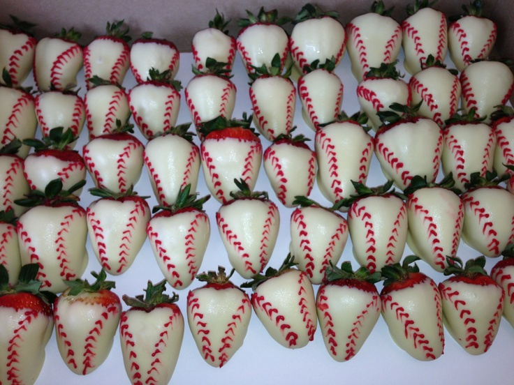 Chocolate covered strawberries decorated like baseballs. #baseball #chocolatestrawberries