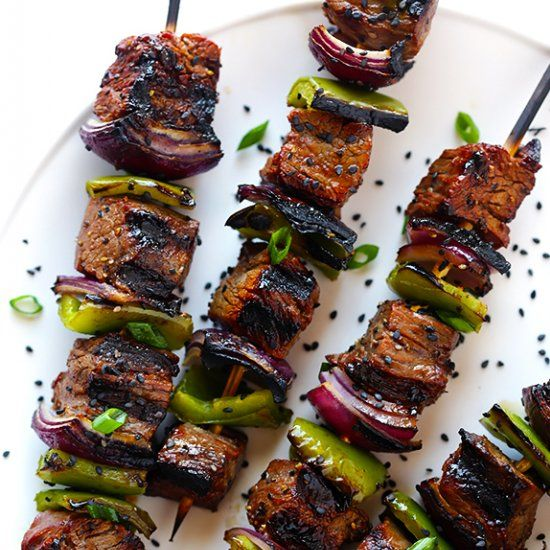 girl asian steak kabobs steamy kitchen recipes asian steak kabobs ...