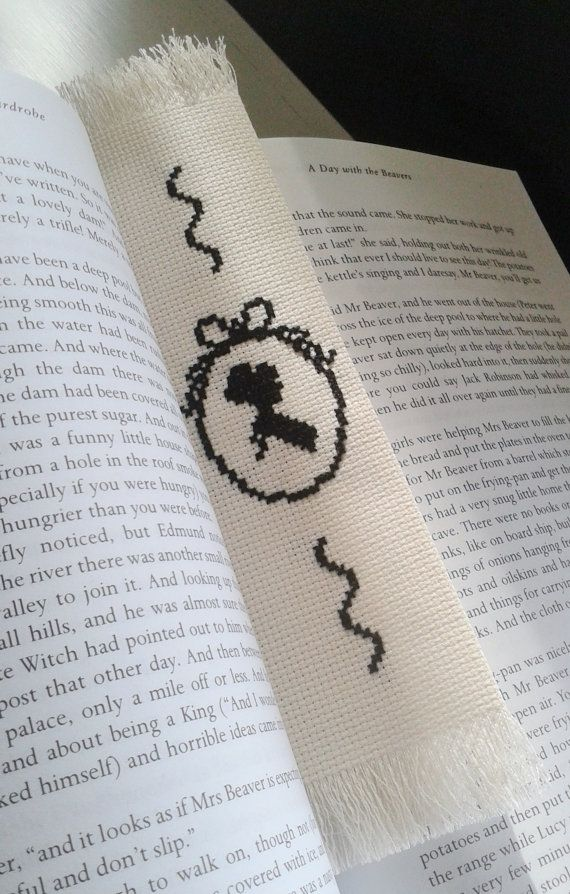 Cross stitch bookmark. Silhouette lady design in black and white. FREE POSTAGE.