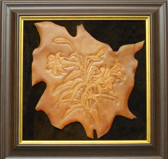 Liliums, leather relief picture, PVC brown frame, handmade