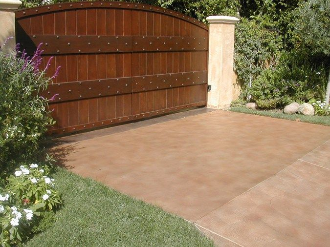 Acid washed concrete driveway tan simple concrete for Acid wash concrete patio