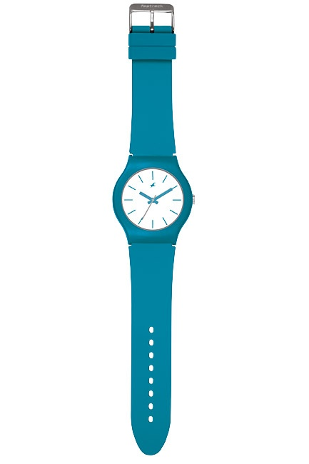 Part of Tees' first colours collection, this watch has a teal case and straps paired with a white dial.