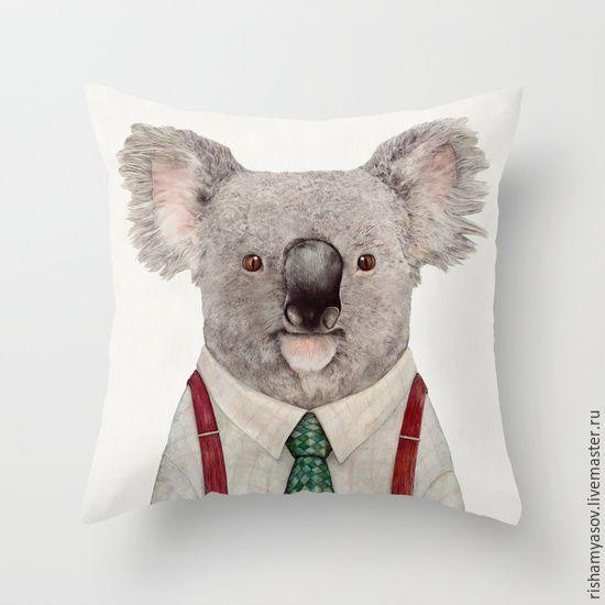 Купить Декоративная подушка Koala - комбинированный, подушка, подушка декоративная, подушка на диван, подушка в подарок