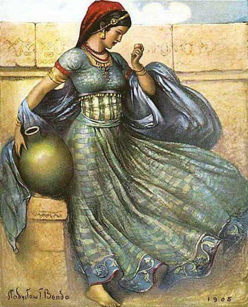 Wladyslaw Theodor Benda (1873 – 1948) wonderful art painting Women  India