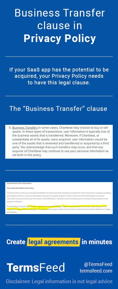 """A """"Business Transfer"""" clause explains data transfer terms, notice requirements, and generally states that the new company will have access to user data."""