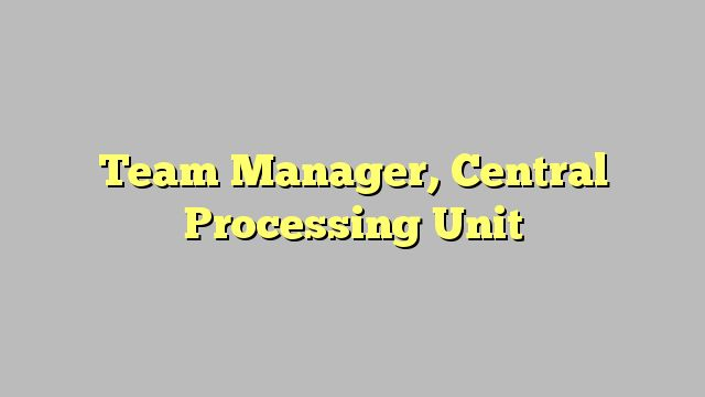 Team Manager, Central Processing Unit