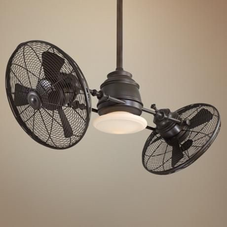 Don't love ceiling fans in general, except for maybe on a porch, but this one is sort of a cool style - Minka Aire Vintage Gyro Oil Rubbed Bronze Ceiling Fan