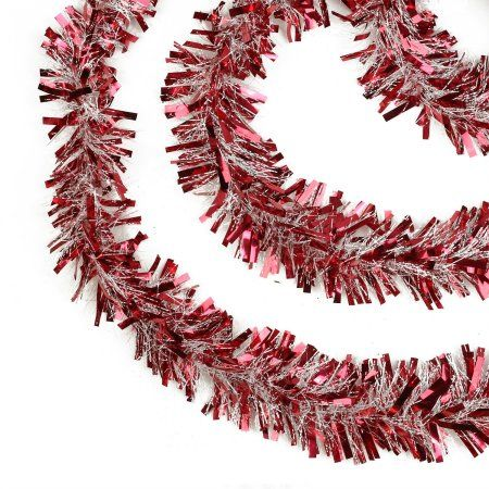50' Festive Red and White Thick Cut Christmas Tinsel Garland - Unlit - 6 Ply - Walmart.com