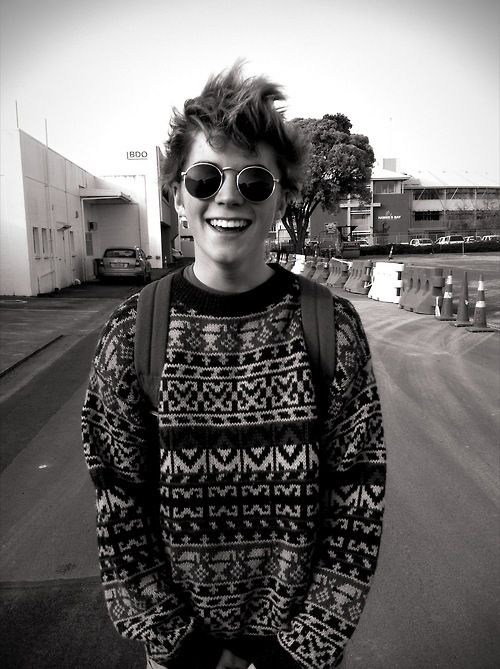 His smile's so cute and he's got nice hair, and I want his sweater... it looks soo cozy and warm