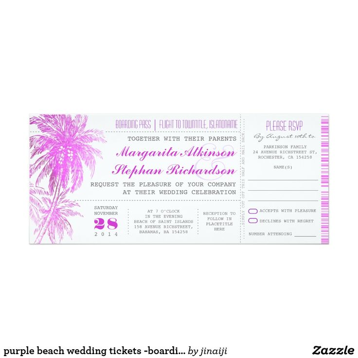 purple beach wedding tickets -boarding pass card Tropical purple palm trees destination wedding invitations in a boarding pass ticket style. Perfect wedding invitation for beach lovers.