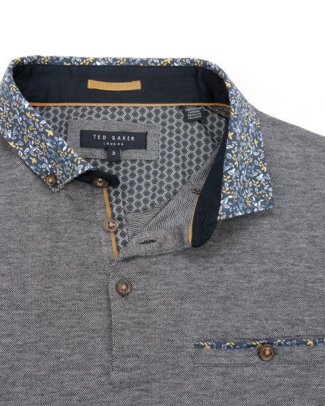 Woven polo top - Navy | Tops & T-shirts | Ted Baker UK