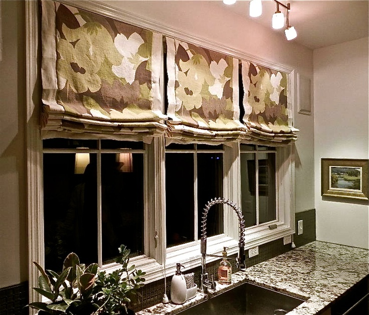 Roman Shades With Contrast Linen Banding Designed By