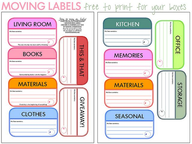 Moving?  Download and print these labels on sticker paper and use them to label boxes.  When the boxes arrive at your new home, they can be placed in the correct room and each box is easy to identify.     Don't have sticker paper?  Just print the labels on regular paper, cut them out, and use packing tape to adhere the label to the box.